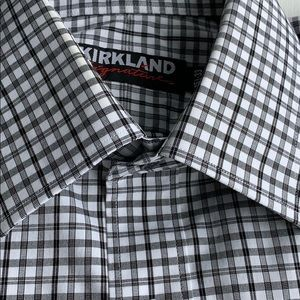 Kirkland Signature Black & White Check Dress Shirt